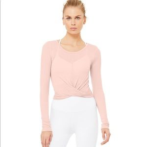 NWT ALO Yoga Cover Long Sleeve Powder Pink